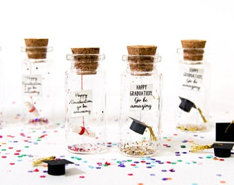 Happy graduation, go be amazing. Graduation. You did it. Tiny message in a bottle. Personalised Gift. Funny Graduation Card. Mature