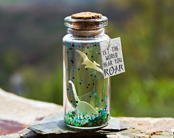 Let the world hear you ROAR. DInosaur. Tiny message in a bottle. Miniatures. Personalised Gift. Funny Love Card. Valentine Card.