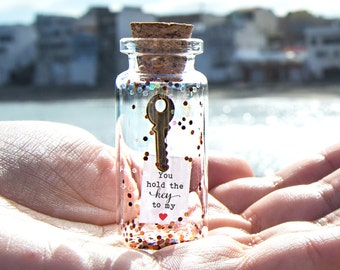Personalized Gift for girlfriend hold the key to my heart Message in a bottleUnusual Card for Him I Love You  Love Greeting Card for Her