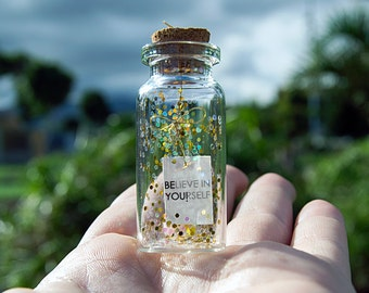 BElieve in YOUrself. Tiny message in a bottle. Miniatures. Personalised Gift. Funny Card. Special greeting card.