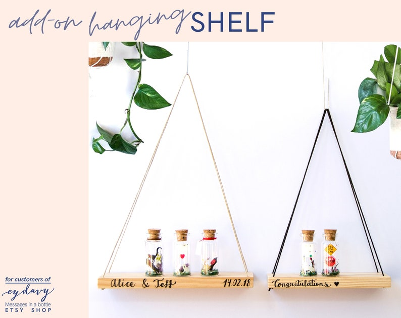 Floating Wooden Shelf for Message in a bottle Rope shelve image 0