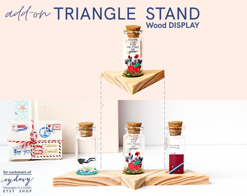 Triangular Base for display Message in a bottle. Personalized image 0
