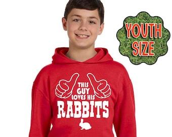 Boy's Rabbit Shirt, This Guy Loves His Rabbits, Boy's Rabbit Hoodie, Boy's Rabbit T-Shirt, Boy's Rabbit Sweatshirt, Rabbit Gift