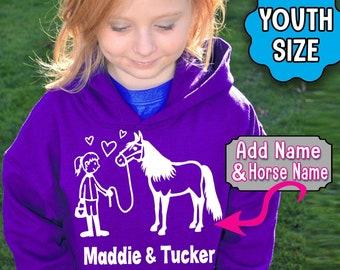 Custom Girl's HORSE Hoodie, Personalized Horse Hoodie, Girl and Her Horse, Sweatshirt, Barn Hoodie, Horse Girl, Equestrian, Barrel Racer