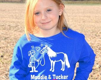 Girl's Personalized Horse T-Shirt, Horse Shirt for Girls, Girl And Her Horse, Equestrian, Barrel Racer, Custom Horse Name Shirt, Horse Gift