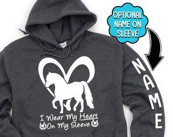 Personalized Mini Horse Hoodie, I Wear My Heart On My Sleeve, Custom Horse Name, Mini Horse Memorial, Miniature Horse Hoodie, Pony Hoodie