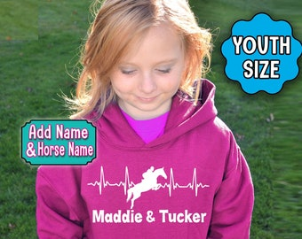 Girl's HORSE Hoodie, Personalized Jumping Horse Hoodie, Girl's Horse Sweatshirt, Dressage Hoodie, Horse Girl, Equestrian, English Horse