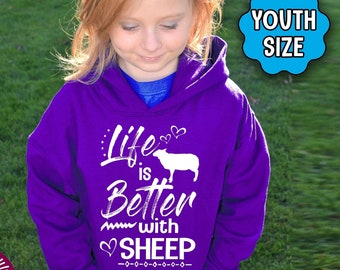 YOUTH Sheep Shirt, Life Is Better With Sheep, Sheep Hoodie, Sheep T-Shirt, Sheep Sweatshirt, Sheep Gift