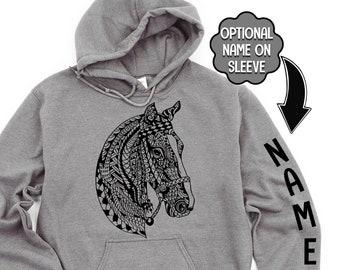 BOHO Horse Hoodie, Personalized Horse Hoodie, Custom Horse Gift, Zentangle Design, Custom, Dressage, Equestrian, Horse Name, Ride Horses