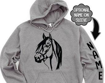 Horse Head Sweatshirt, Horse Head Hoodie, Horse Gift, Equestrian Sweatshirt, Horse with Reigns, Men's Horse Shirt, Youth Horse Hoodie,