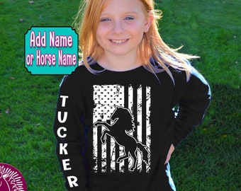 Kid's Horse Flag Shirt, Youth Horse T-Shirt, USA Flag Shirt, Patriotic, Wild Horse, Cowgirl, Cowboy, Rodeo, Western, Equestrian, Horse Gift