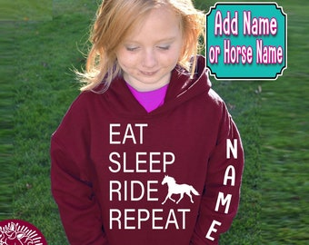 YOUTH Horse Hoodie, Eat Sleep Ride Repeat Hoodie, GIRL'S Horse Hoodie, Horse Sweatshirt, BOY'S Horse Hoodie, Equestrian, Barrel Racer