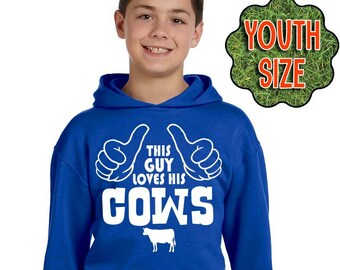 Boy's Cow Hoodie, This Guy Loves His Cows, Boy's Cow Shirt, Farm Kid, Farmer, Farming, Livestock, Stock Show Hoodie, Cow T-Shirt