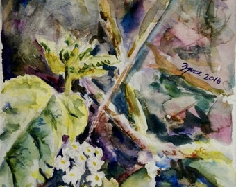Woodland. Original watercolor painting of nature.