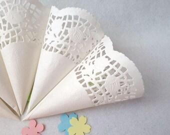 White Openwork Cones, Wedding Paper Cones, Small Confetti Cones, Embossed Paper Cones, Confetti Toss Cones, Lace Cones, Custom Wedding Cones