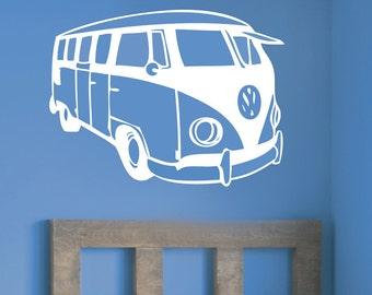 Bay Window VW Camper Van Vinyl Sticker Wall Art Boys Bedroom Garage Play Room