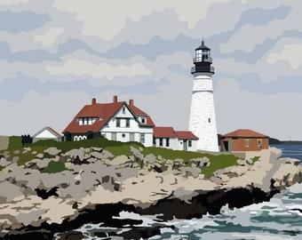 Portland Head Light - Maine - Lighthouse Art - Graphic Art Print