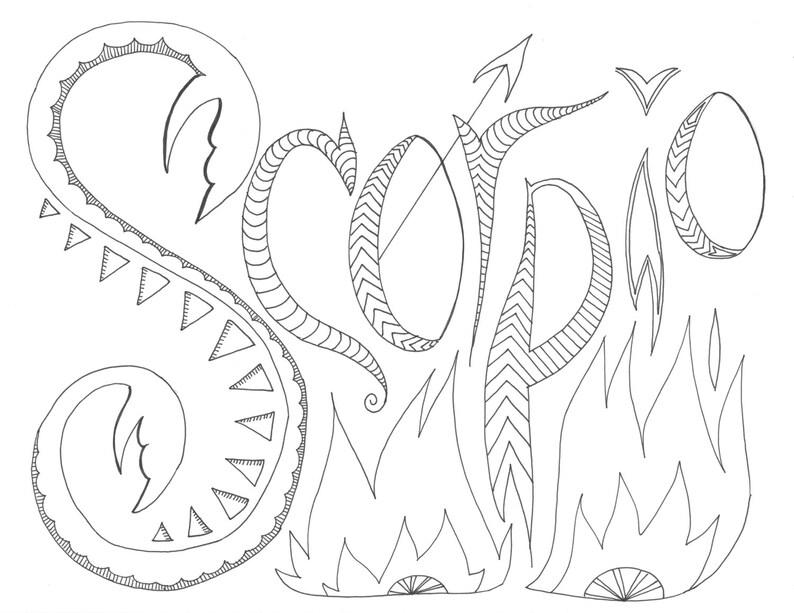 Scorpio Zodiac Coloring Page Etsy
