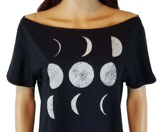 Off the Shoulder Moon Phases Top / Solar Eclipse Wide Neck Tee