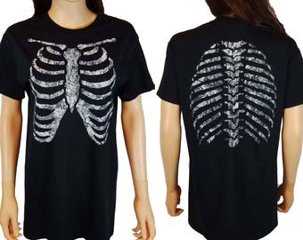 Rib Cage Hand Painted Front and Back T Shirt / Skeleton Shirt