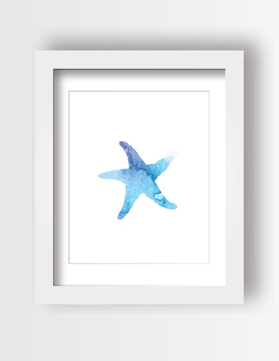 picture regarding Starfish Printable called Starfish Printable, Ocean Concept, Nursery Artwork, Watercolor, Print at Dwelling, Blue Wall Artwork, Rest room Artwork, Below the Sea, Seashore Topic, Electronic