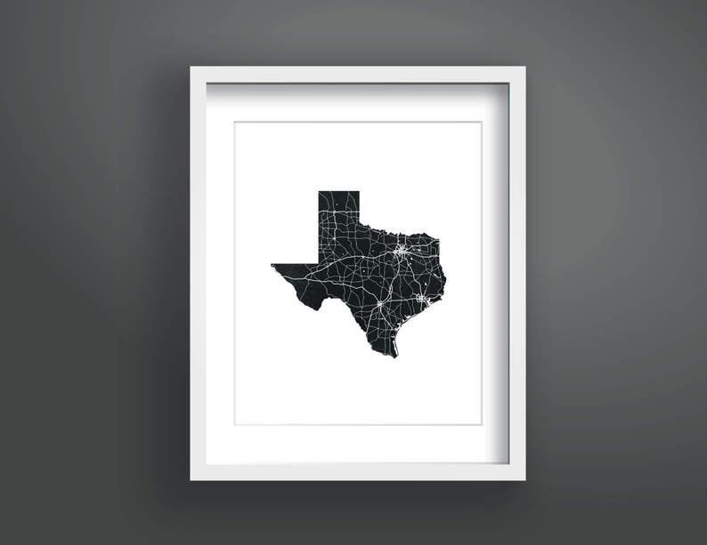Outline Of Texas Map.Texas Map Chalk Map State Outline Roadmap Black And White Etsy