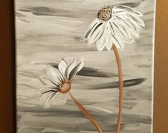 Grey Daisies Canvas