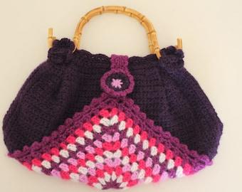 MultiColor Crochet Mohair Handbag, 100% Handmade Unique Knitting handbag