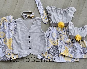 fb260ac51e230 Dress matching family mommy and me dresses mother son father daughter boy girl  match dresses skirt vest bowtie onesie family Easter outfits
