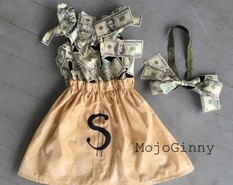 Money Bag tycoon Halloween costume for baby child girl boy women- cosplay cash bank teller wealthy Wall Street financial advisor investor