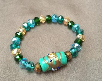 Ceramic and glass beaded bracelet