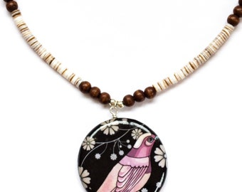 Decoupage oriental bird pendant with shells and wooden beads, Oriental pendant,