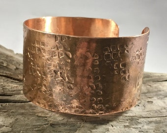 copper cuff bracelet - copper anniversary - rustic cuff - cuff bracelet - hammered cuff - wide copper cuff - seventh anniversary gift