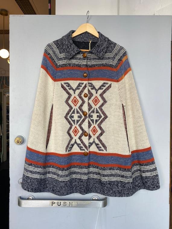 Knit poncho. Vintage woven 1970's cape