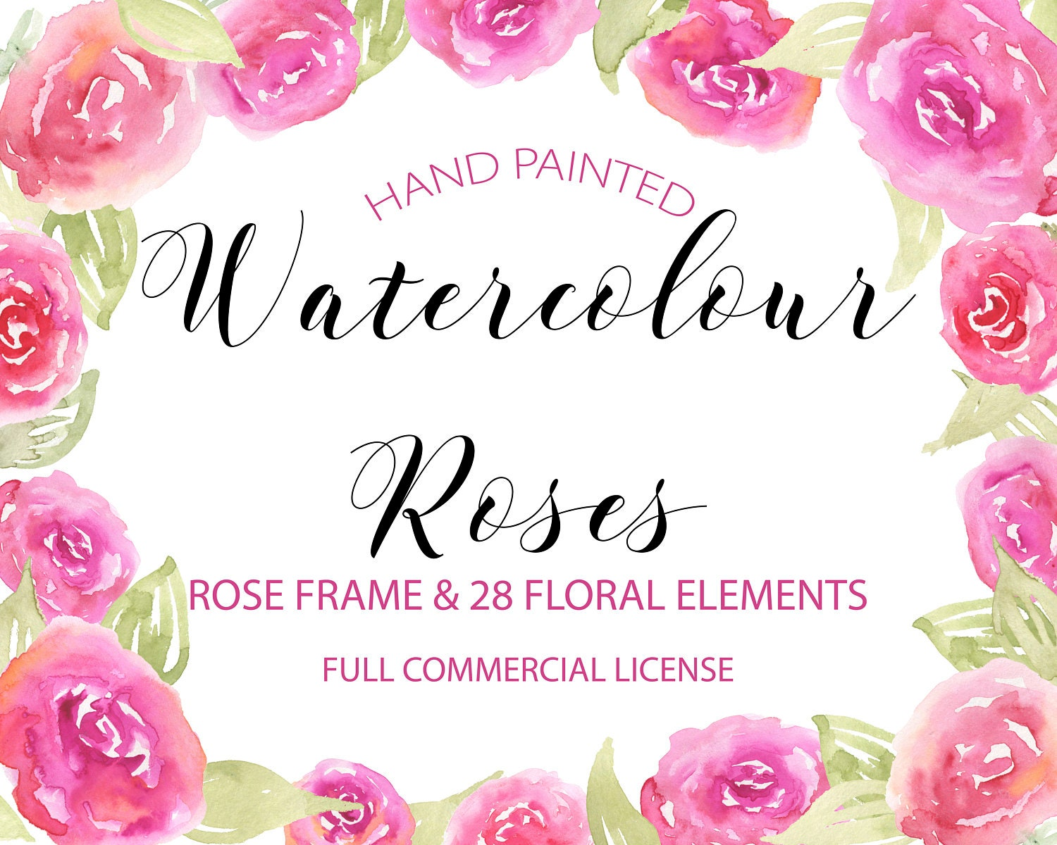 Watercolor Rose Clipart Pink Rose Clipart Floral Frame | Etsy