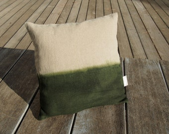 """Green cushion made with natural linen """"Tie & Dye khaki"""" Collection """"Little Miss Moses"""", 100% handmade"""