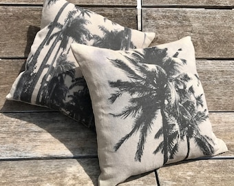 """Natural linen cushion, printed picture, """"Palm"""" Collection"""