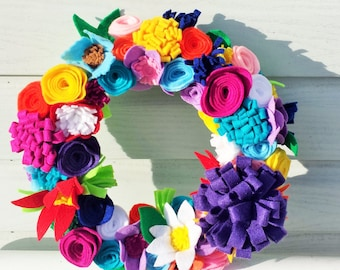 Felt Flower Wreath, Bright Felt Flower Wreath, Summer Felt Flower Wreath, Vibrant Felt Flower Wrath, Felt Flowers, Full Felt Flower Wreath