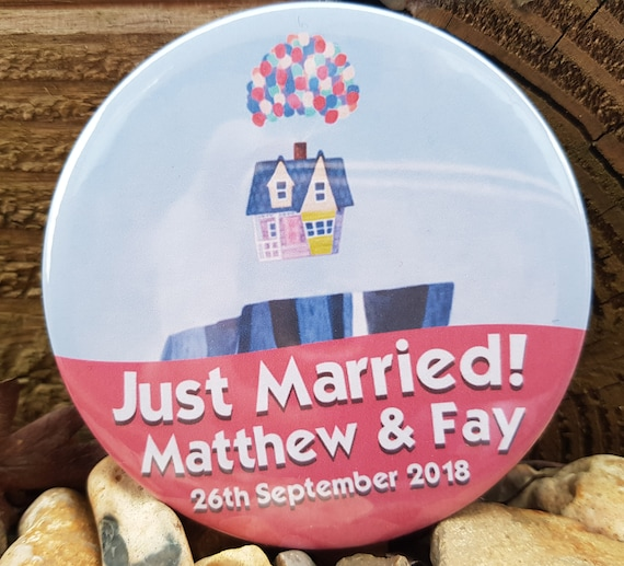 Up Just Married Personalised Disney Themed Custom Design Badge Button