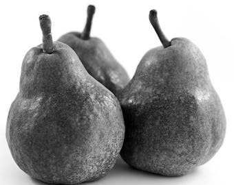 Pear Print, Kitchen Art, Black and White Photography, Fruit Art, Modern Decor, 8 x 10 inches, Unframed