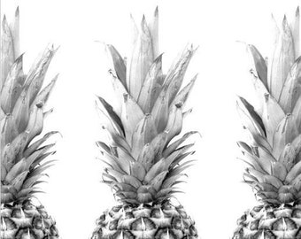 Pineapple Print, Summer Art, Black and White Photography, Tropical Pineapple, Pineapple Decor, Tropical Theme, 8 x 10 inches, Unframed