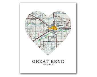 Bend Map Heart Print Etsy