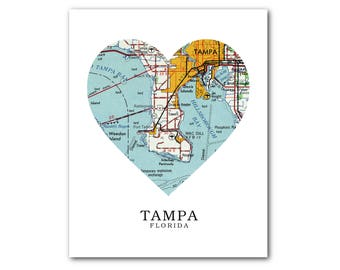 Map Of Tampa Florida Area.Tampa Fl Map Etsy