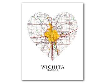 Map Of Wichita Etsy