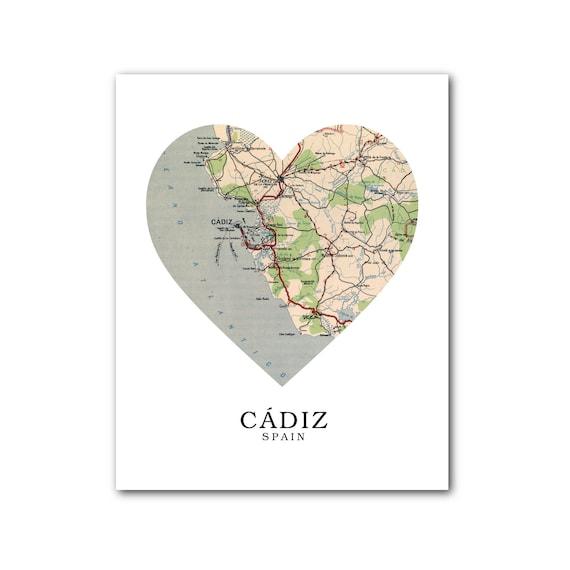 Map Of Spain Cadiz.Cadiz Map Heart Print Spain Map Art Cadiz Spain Map Heart Map Print Spain Map Gift Love Cadiz Art 8 X 10 Inches Unframed