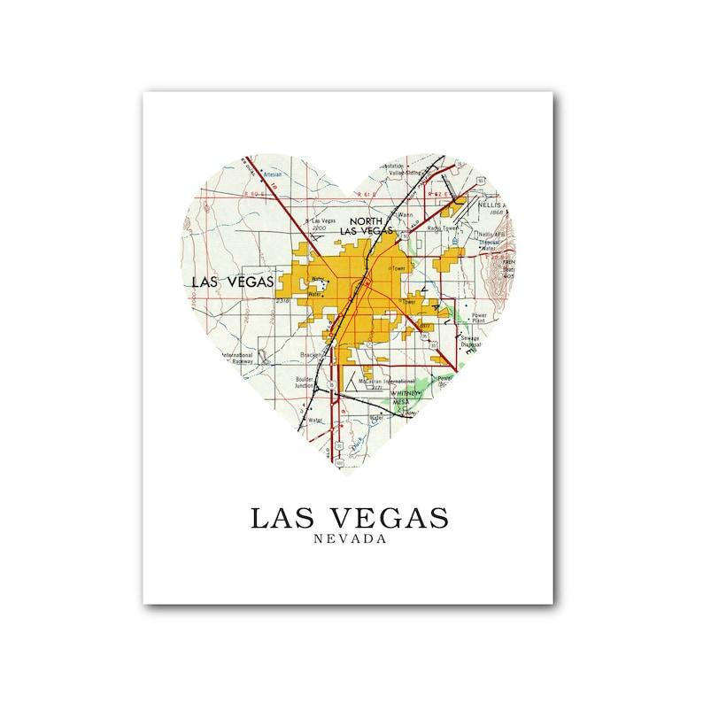 Las Vegas Map Heart Print, Las Vegas Map Art, Nevada Map, Heart Map Print,  Las Vegas Nevada Map, Nevada, 8 x 10 inches, Unframed