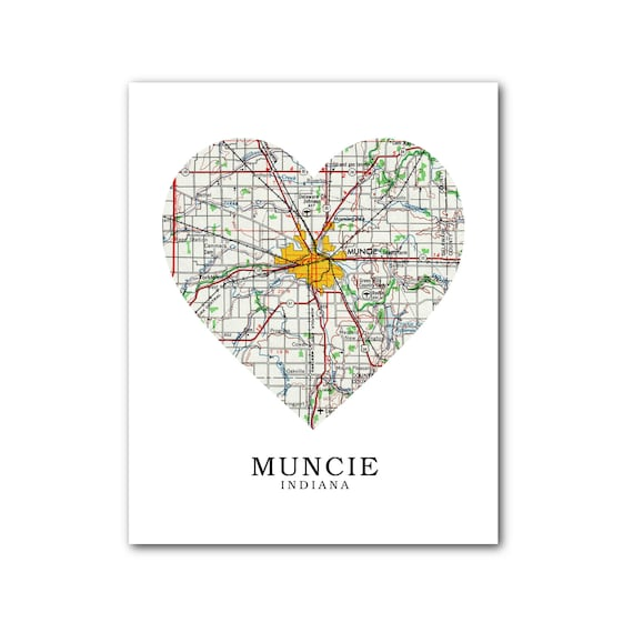 Muncie Zip Code Map.Muncie Map Heart Print Muncie Map Art Indiana Map Heart Map Etsy
