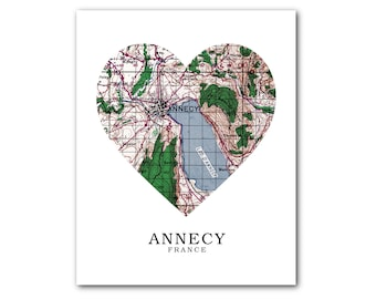 Annecy Map Heart Print, Annecy Map Art, Annecy Map, France Heart Map Print, Annecy Map Gift, Annecy France, Annecy, 8 x 10 inches, Unframed