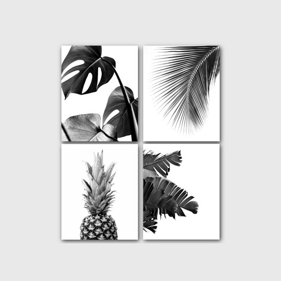 Pineapple Print 8x10 inches Tropical Pineapple Black and White Art Unframed