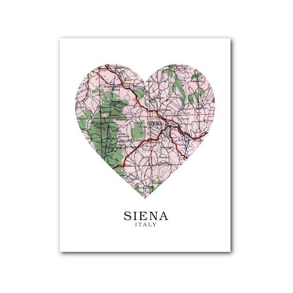 Siena Map Heart Print Italy Map Art Siena Italy Map Siena Etsy